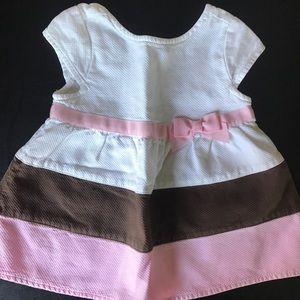 Gymboree dress pink/white/brown 3T EUC